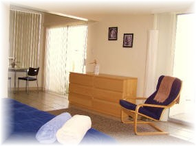 Mid-century modern style rooms at clothing optional resort Living Waters Spa in Palm Springs / Desert Hot Springs